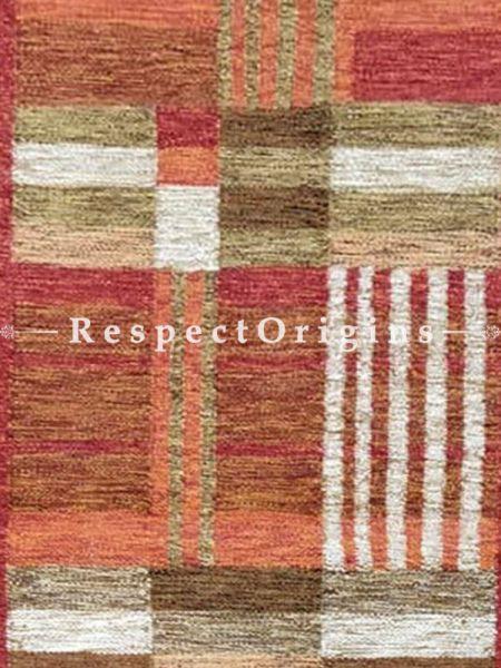 Buy Woolen Brown Threaded, red borders with linear patterns Mirzapuri Floor runner At RespectOrigins.com