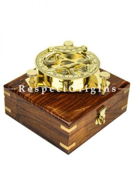 Buy 5Inches Triangular Beautiful Nautical Sundial Compass with Level Meter Encased in Genuine Rosewood Anchor inlaid Case; Maritime Decor Gifts (Vintage Brass) At RespectOrigins.com