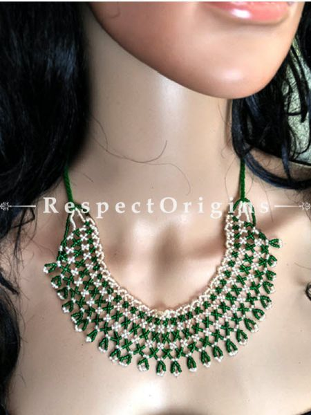Buy Green and white Beads; Jewellery Set at RespectOrigins.com