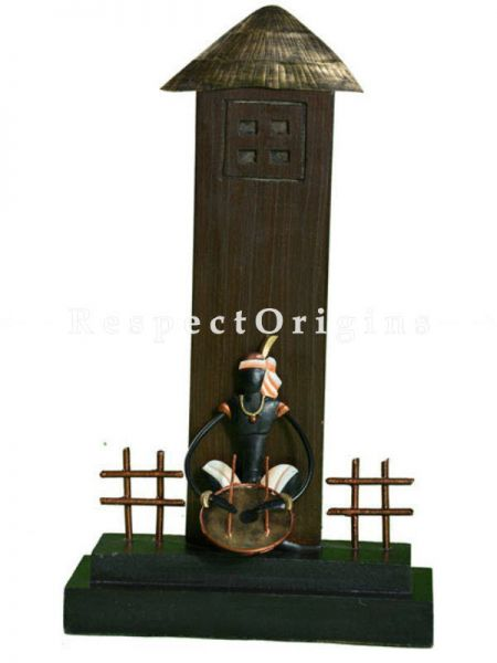 Buy Tribal Musicians Under and a hut in Wrought Iron, 14x8x3 in At RespectOrigins.com