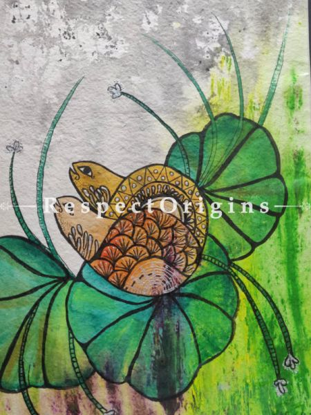 Turtle With Lilly With Mount; Mix Media On Paper Painting; 24 X 17 Inches; RespectOrigins.com