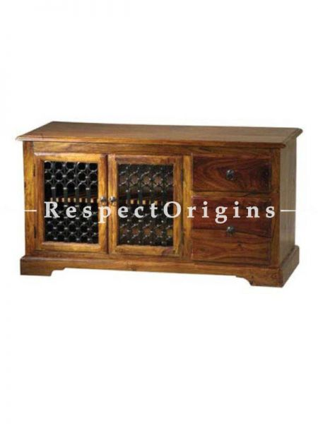Buy Arthur Handcrafted TV Console in Solid Wood with Iron Latticework; 45x24x16in At RespectOrigins.com