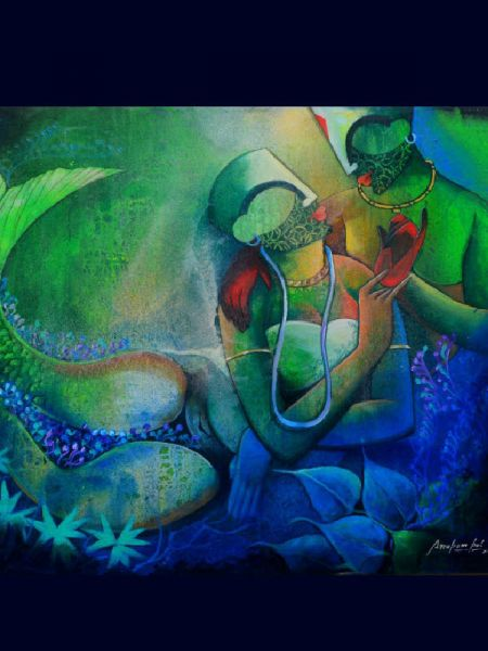 Buy Underwater Romance 3; Acrylic On Canvas Painting; 42 X 36 Inches  at RespectOrigins.com