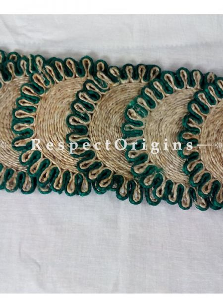 Round Jute Table Mat or Place mat Set of 6; Available in Green Colors Border; RespectOrigins