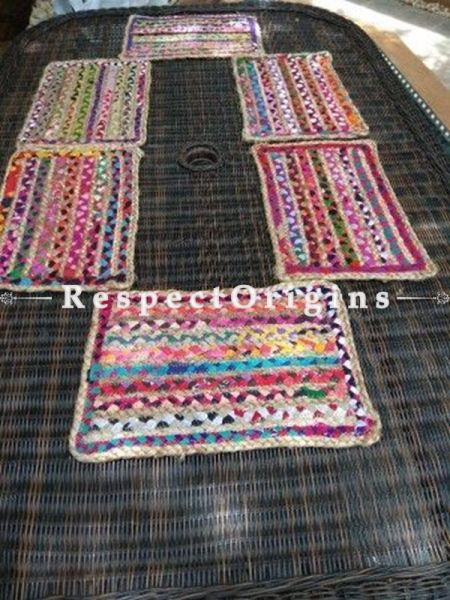 Buy Set of 6 Rectangular Jute & Cotton Chindi Table Mats; RespectOrigins