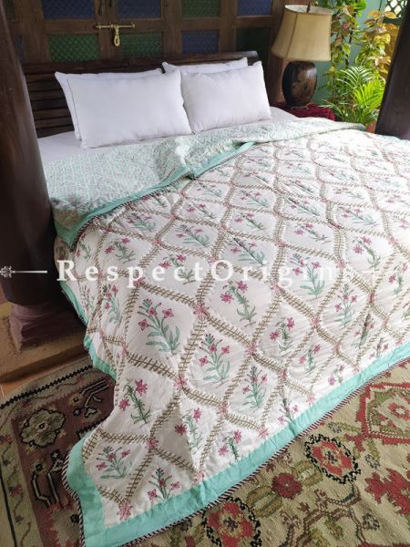 Valencia Luxury Rich Cotton- filled Reversible King Comforter; Hand Block-printed; 105 x 87 Inches; RespectOrigins.com