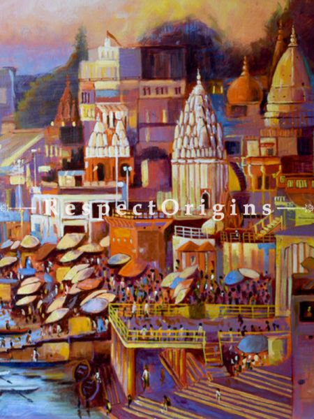Varanasi Ghat ; Acrylic on Canvas ; 30X20 In ; Horizontal Painting|RespectOrigins.com