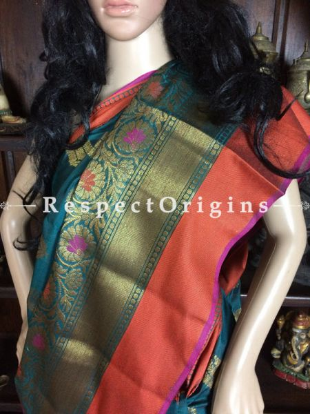 Blue-Orange Handwoven Banarasi Cotton Silk Saree; Zari Border & Butis; RespectOrigins.com