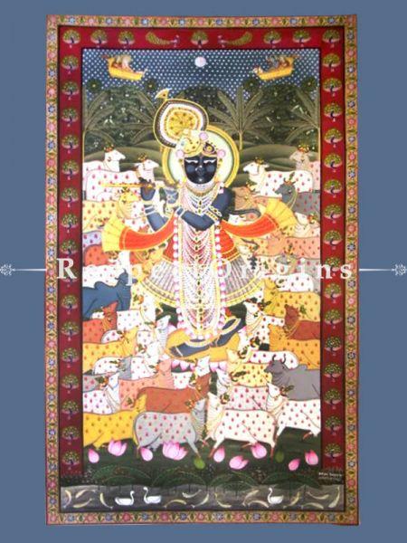 Gopashtami Pichwai Painting of Gopashtmi; 60 x 36 inches