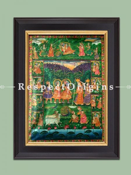 Buy Vertical Pichwai Painting of Krishna Lila in 70 x 46 in size  Respect Origins