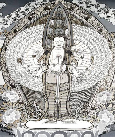 Avalokiteshvara Thangka in 20x18 in On Canvas; Buddhist Traditional Painting Wall Art