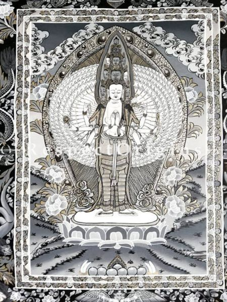 Vertical Thangka Painting of Avalokiteshvara in 20X18 inches On Canvas; Buddhist Traditional Painting Wall Art; RespectOrigins