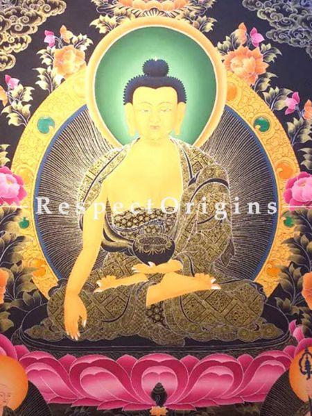 Buddha Shakyamuni Large Thangka in 60x36 in On Canvas; Buddhist Traditional Painting Wall Art