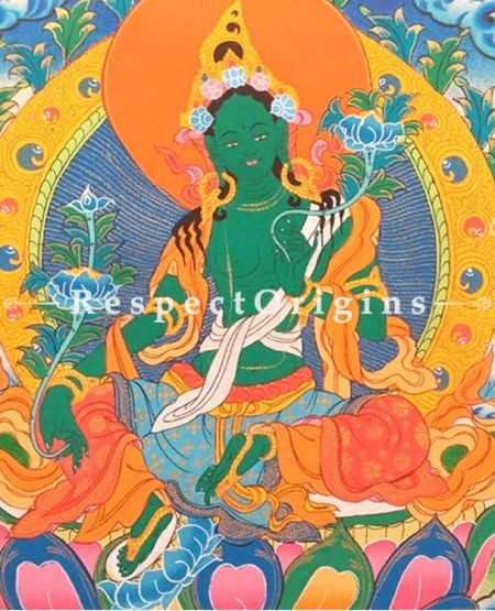 Green Tara Thangka in 14x11 in On Canvas; Buddhist Traditional Painting Wall Art
