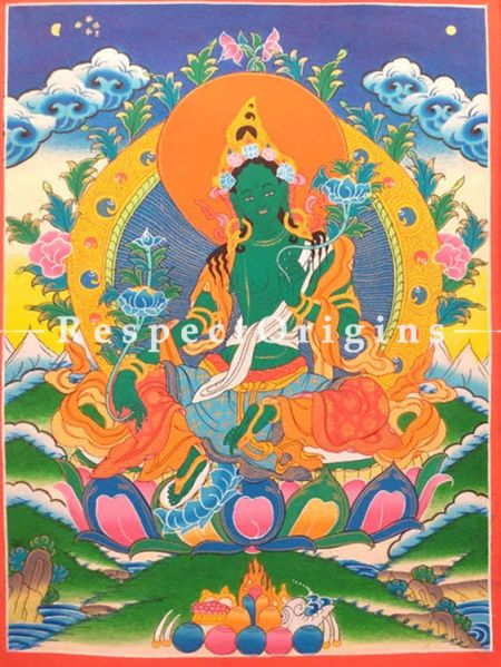 Vertical Thangka Painting of Green Tara in 14 x 11 inches On Canvas; Buddhist Traditional Painting Wall Art;RespectOrigins