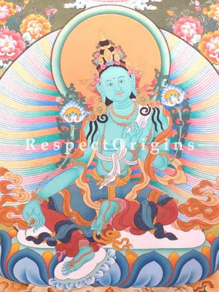Green Tara Thangka in 24x18 in On Canvas; Buddhist Traditional Painting Wall Art
