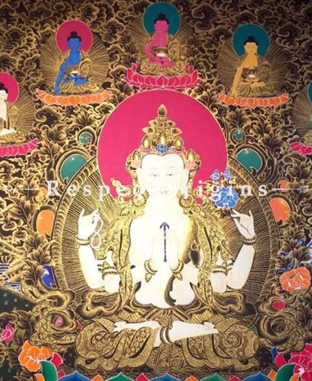 Large Green Tara Thangka in 60x36 in On Canvas; Buddhist Traditional Painting Wall Art