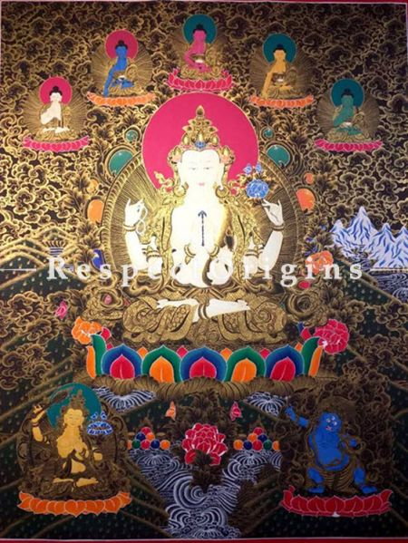 Vertical Thangka Painting of Green Tara in 60x36 inches On Canvas; Buddhist Traditional Painting Wall Art; Respec t origins