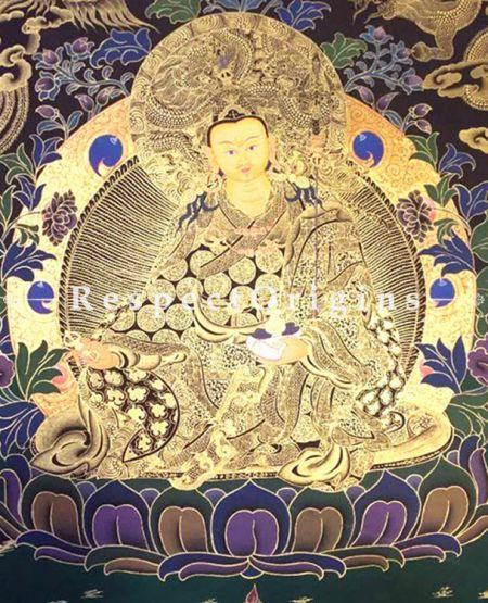 Guru Rimpochhe -Padmasambhava in 20x15 in Thangka On Canvas; Buddhist Traditional Painting Wall Art