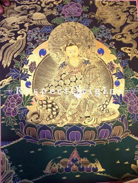 Vertical Thangka Painting of Guru Rimpochhe -Padmasambhava in 20 x 15 inches On Canvas; RespectOrigins