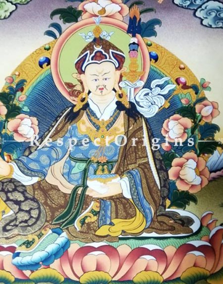 Guru Rimpochhe Thangka in 20x18 in On Canvas; Buddhist Traditional Painting Wall Art