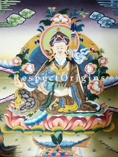 Vertical Thangka Painting of Guru Rimpochhe in 20X18 inches On Canvas; Buddhist Traditional Painting Wall Art; RespectOrigins
