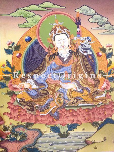 Vertical Thangka Painting of Guru Rimpochhe-Padmasambhava in 24X18 inches On Canvas; Buddhist Traditional Painting Wall Art; RespectOrigins
