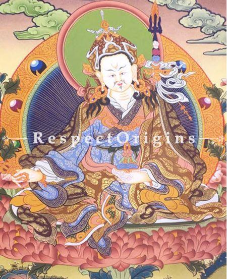 Guru Rimpochhe-Padmasambhava Thangkha in 24x18 in On Canvas; Buddhist Traditional Painting Wall Art
