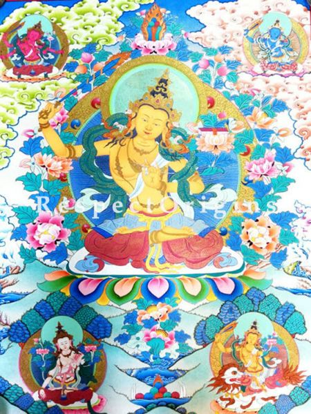 Vertical Thangka Painting of Manjusree in 22X18 inches On Canvas; Buddhist Traditional Painting Wall Art; RespectOrigins
