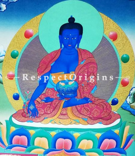 The Medicine Buddha Thangka in 22x18 in On Canvas; Buddhist Traditional Painting Wall Art