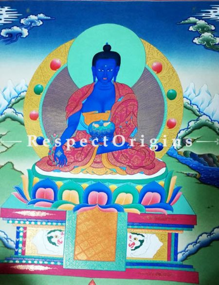 Vertical Thangka Painting of Medicine Buddha in 22X18 inches On Canvas; Buddhist Traditional Painting Wall Art| RespectOrigins