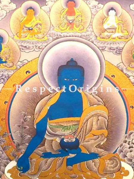 Medicine Buddha Thangka in 30x20 in On Canvas; Buddhist Traditional Painting Wall Art