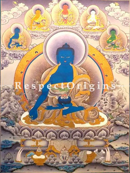 Vertical Thangka Painting of Medicine Buddha in 30x20 inches On Canvas; Buddhist Traditional Painting Wall Art; RespectOrigins