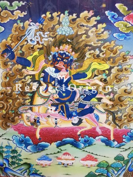 Vertical Thangka Painting of Palden Lhamo in 22X18 inches On Canvas; Buddhist Traditional Painting Wall Art; RespectOrigins
