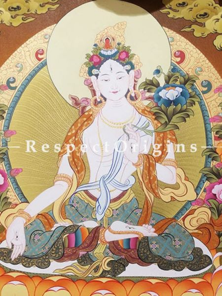White Tara Tangka Painting in 30x20 in On Canvas; Buddhist Traditional Painting Wall Art