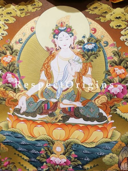 Vertical Thangka Painting of  White Tara in 30X20 inches On Canvas; Buddhist Traditional Painting Wall Art; RespectOrigins