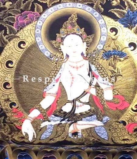 White Tara in 60x36 in On Canvas; Buddhist Traditional Painting Wall Art