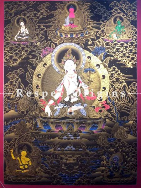 Vertical Thangka Painting of White Tara in 60 x 36 inches On Canvas; Buddhist Traditional Painting Wall Art; RespectOrigins