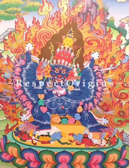 Yamantaka Thangka in 30x20 in On Canvas; Buddhist Traditional Painting Wall Art
