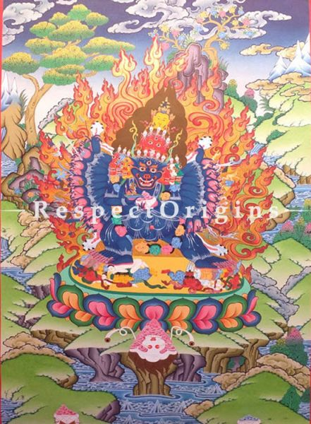 Vertical Thangka Painting of Yamantaka in 30 x 20 inches On Canvas; Buddhist Traditional Painting Wall Art; RespectOrigins