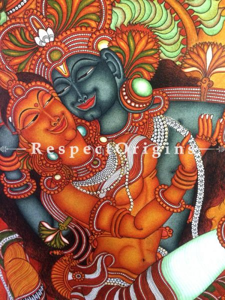 Buy Vertical Kerala Mural Painting of Radha Krishna in 35x23 Inches |RespectOrigins