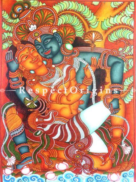 Radha Krishna Chuvarcharitram; Kerala Mural Painting; 35x23 Inches