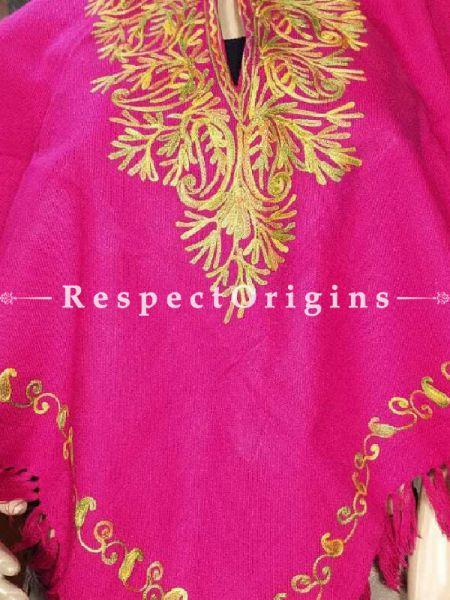 Vibrant Pink Aari Embroidered Poncho; RespectOrigins.com