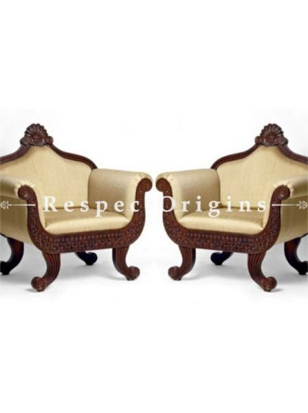 Buy Victoria Custom Crafted Upholstered 3 Seater Sofa Set with 2 Sofa Chairs At RespectOrigins.com
