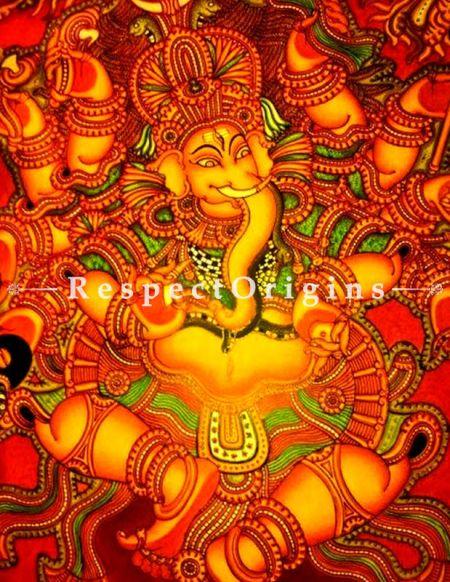 Buy Vighanharta - Ganesha Kerala Mural Art- Painting 60x36 Canvas Paintings|RespectOrigins