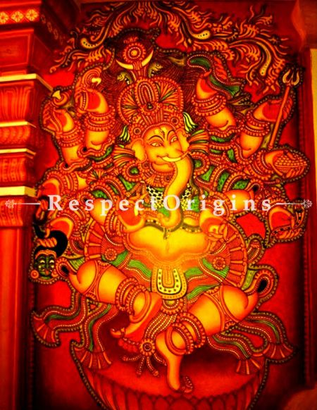Vighnaharta - Ganesha Kerala Mural Art- Painting 60x36 in Canvas Vertical Paintings