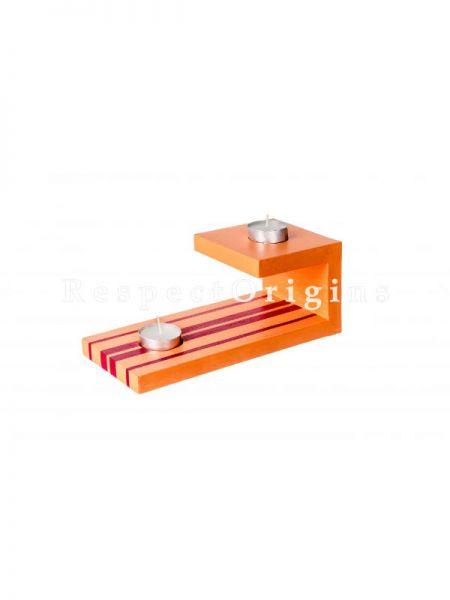 Buy Wooden Tealight Holder, orange At RespectOrigins.com