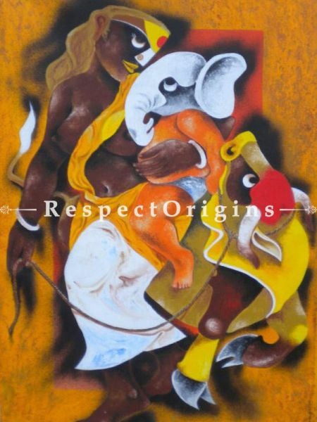 Village Women; Acrylic On Canvas 24X36 Inches; Vertical Painting
