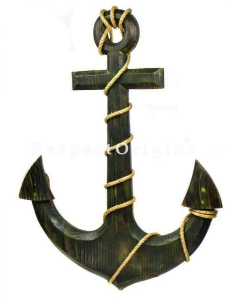 Buy Nautical Pine Wood Home Decor Anchor - Pirate Decorative Wall Hanging Gift At RespectOrigins.com