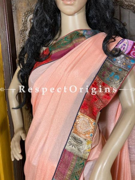 Vintage Blush Pink Shaded Banarasi Border on Georgette Designer Formal Ready-to-Wear Saree; RespectOrigins.com